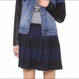Madewell pleated blue stripped wool school girl mini skirt size 8